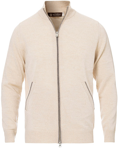Morris Heritage Contrast Full Zip Cardigan Off White