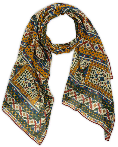 Drake's Cotton/Modal Ornate Tile Scarf Red/Green