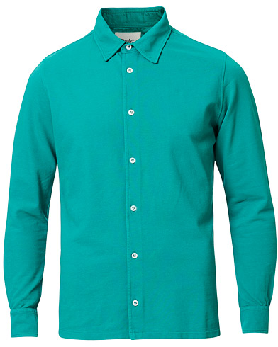 Drake's Long Sleeve Pique Shirt Emerald Green ryhmässä Vaatteet / Kauluspaidat / Rennot @ Care of Carl (16993511r)