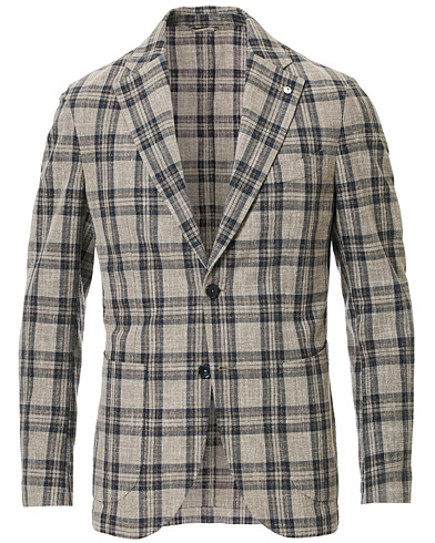 L.B.M. 1911 Jack Regular Fit Checked Cotton Blazer Beige/Navy