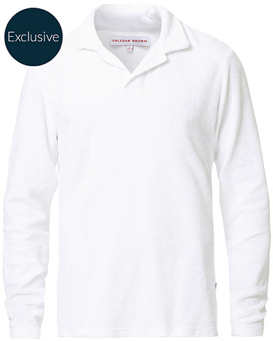 Orlebar Brown Terry Long Sleeve Polo White