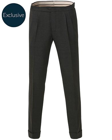 Morris Heritage Carl Double Pleated Wool Trousers Brown