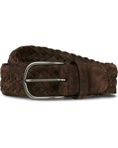 Anderson's Braided Suede 3,5 cm Belt Dark Brown