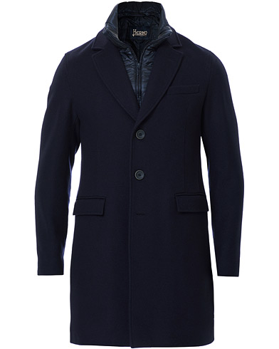 Herno Wool Zip Coat Navy
