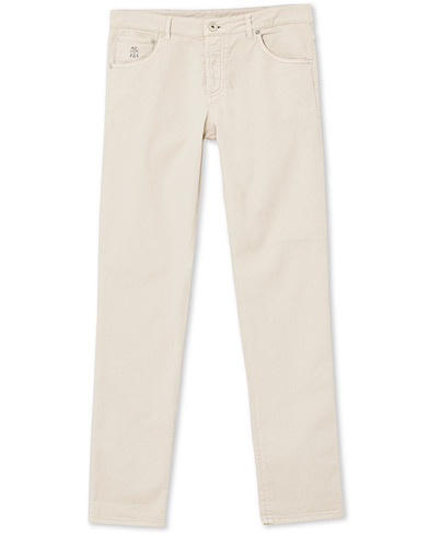 Brunello Cucinelli Slim Fit 5-Pocket Twill Pants Light Beige ryhmässä Vaatteet / Housut / Viisitaskuhousut @ Care of Carl (19191211r)