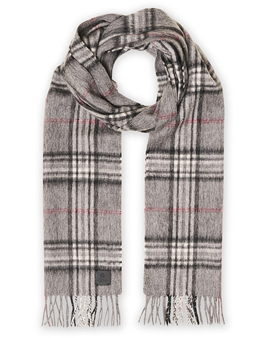 Amanda Christensen Merino Wool Check Scarf Grey ryhmässä Asusteet / Kaulaliinat @ Care of Carl (19205010)