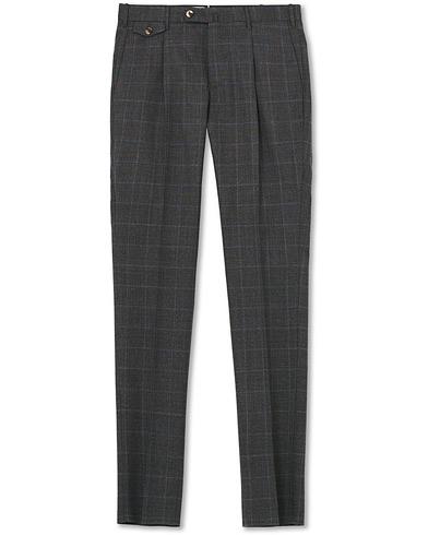 PT01 Gentleman Fit Overcheck Wool Trousers Dark Grey