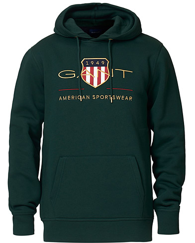 GANT Archive Shield Hoodie Tartan Green ryhmässä Vaatteet / Puserot / Hupparit @ Care of Carl (19372211r)