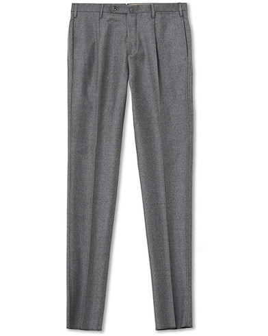 Incotex Slim Fit Pleated Flannel Trousers Grey Melange
