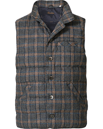 Stenströms Quilted Check Wool Vest Navy