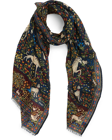 Drake's Wool/Silk Printed Mythical Forest Scarf Navy