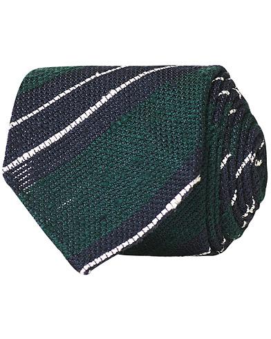 Drake's Handrolled Striped Grenadine 8 cm Tie Green/Blue
