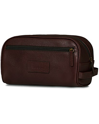Leather Washbag Dark Brown