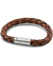 Skultuna Leather Bracelet Plaited 7 by Lino Ieluzzi Brown