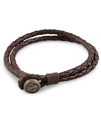 Morris Braided Logo Bracelet Dark Brown
