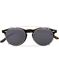 Pleat Clip On Sunglasses Classic Tortoise