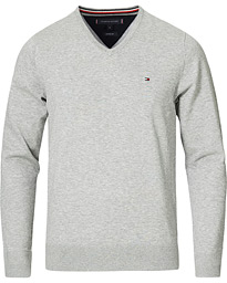 Tommy Hilfiger Cotton/Silk V-Neck Pullover Cloud Heather