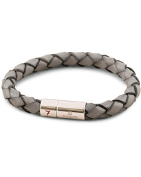 Leather Bracelet Plaited 7 by Lino Ieluzzi Grey