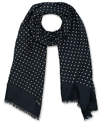 Wool/Silk Classic Spot Scarf Navy/White