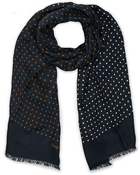 Wool/Silk Classic Spot Scarf Navy/White/Brown