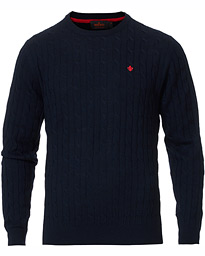 Merino Cable O-Neck Navy