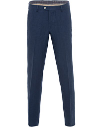 Oscar Jacobson Diego Linen Trousers Blue