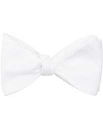 Cotton Pique Self Tie  White