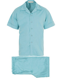 Cleverly Laundry Washed Cotton Pyjama Short Set Faded Blue