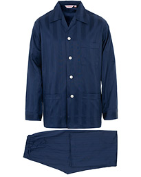 Derek Rose Striped Cotton Satin Pyjama Set Navy
