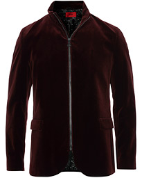 HUGO Apino Velvet Zip Blazer Wine Red