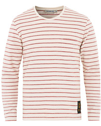 Tiger of Sweden Jeans Salk Stripe Long Sleeve Crew Neck Tee Red Raven