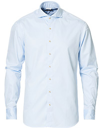 Stenströms Fitted Body Washed Cotton Plain Shirt Light Blue