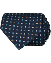 E. Marinella 3-Fold Printed Flower 8 cm Silk Tie Navy