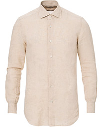 Mazzarelli Linen Cut Away Shirt Sand
