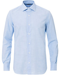 Mazzarelli Soft Cotton Cut Away Shirt Light Blue