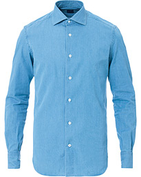 Mazzarelli Washed Denim Cut Away Shirt Light Blue