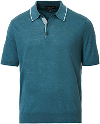 Brooks Brothers Linen/Cotton Contrast Tip Polo Teal