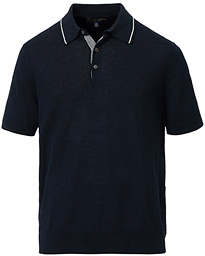 Brooks Brothers Linen/Cotton Contrast Tip Polo Navy
