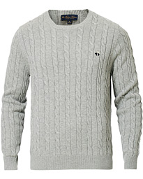 Brooks Brothers Cotton Cable Crew Neck Sweater Heather Grey