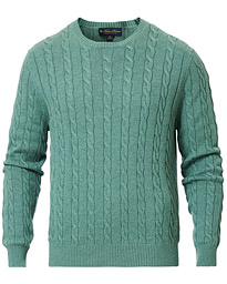 Brooks Brothers Cotton Cable Crew Neck Sweater Green Teal
