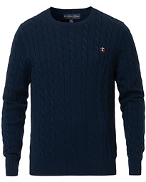 Brooks Brothers Cotton Cable Crew Neck Sweater Navy