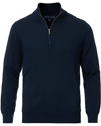 Brooks Brothers Cotton Half Zip Sweater Navy