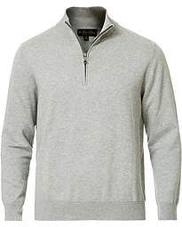 Brooks Brothers Cotton Half Zip Sweater Heather Grey