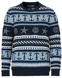 Brooks Brothers Nautical Embroided Knit Dark Blue