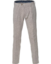 Etro Pleated Linen Trousers Sand