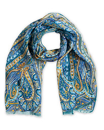 Etro Printed Linen Scarf Teal