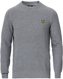 Lyle & Scott Grid Stitch Crew Neck Pullover Mid Grey Marl