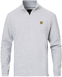Lyle & Scott Half Zip Pique Sweater Light Grey Marl