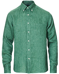Eton Slim Fit Linen Button Down Shirt Green