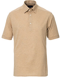 Eton Slim Fit Short Sleeve Pique Shirt Beige Melange